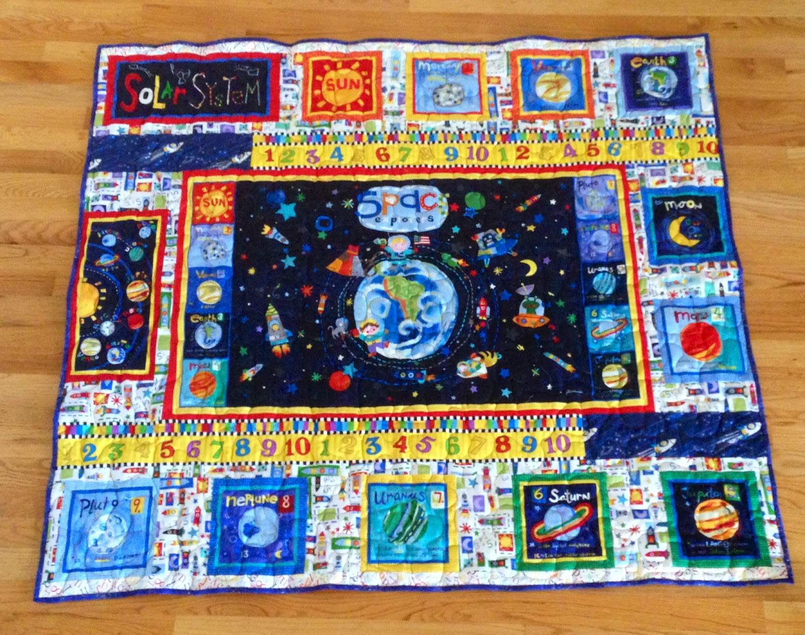 Creative expressions abc quilt and space quilt for Spaceship quilt