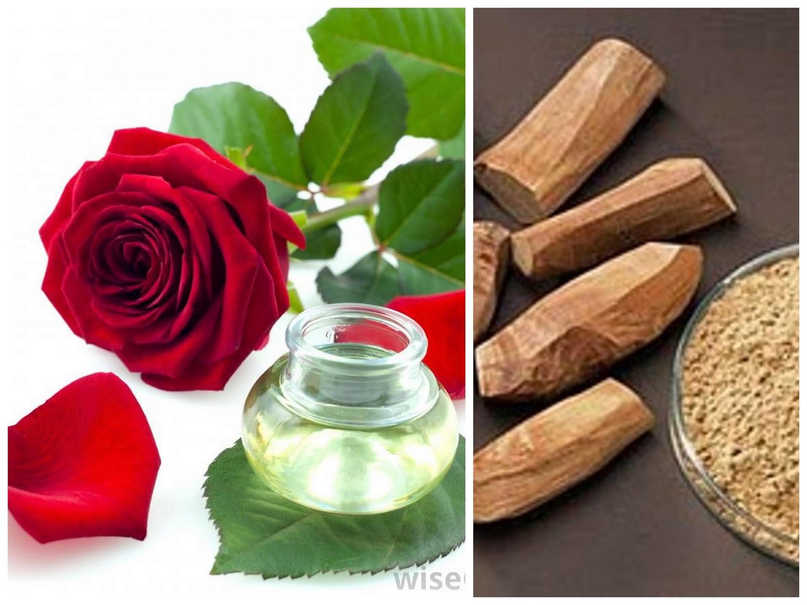 Air bunga mawar dan pasta cendana