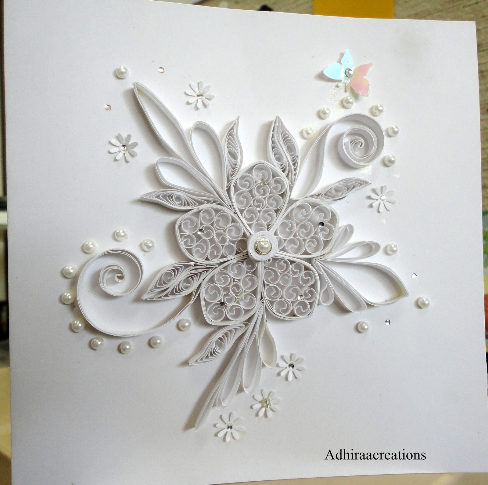 Adhiraacreations white on white for Quilling strips designs