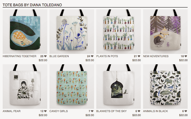 Diana Toledano's Illustration Shop: tote bags