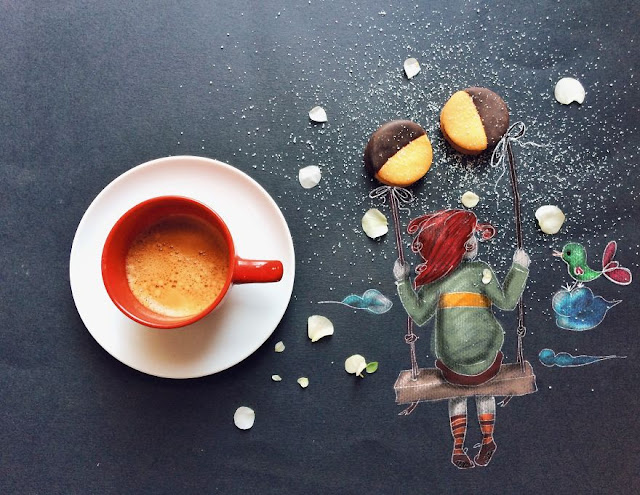 cute illustrations with a cup of coffee