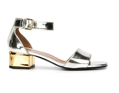 Marni silver and gold low heeled sandals