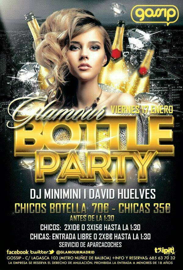 BOTTLE PARTY EN GLAMOUR MADRID VIERNES 17 DE ENERO - 661818403