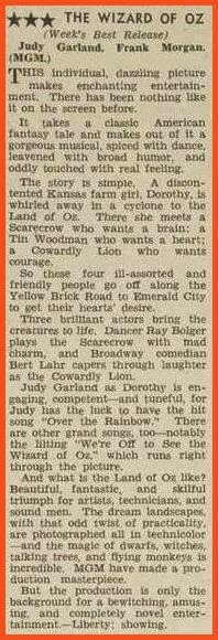 Original 1939 review about the Wizard of OZ