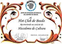 Distinción de la Junta de Estudios Históricos del Barrio de Boedo