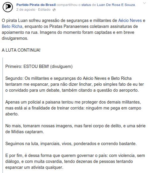 Seguranças de Aécio Neves e Beto Richa espancam estudante por pergunta sobre aeroporto