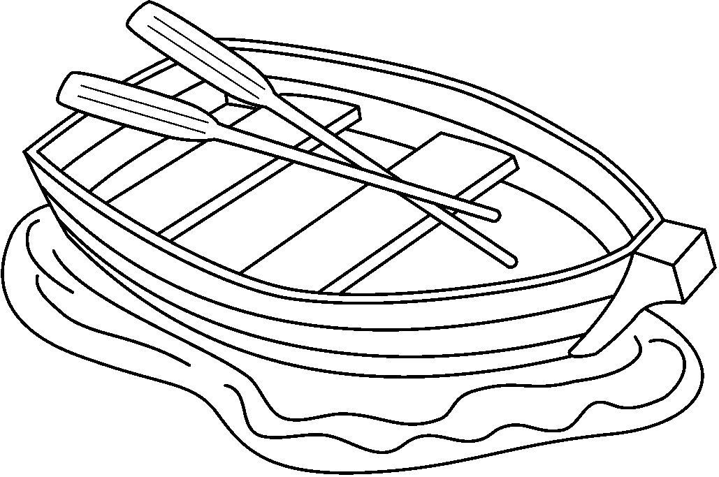 Row Boat Clip Art Black And White Sketch Coloring Page
