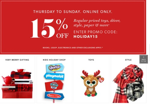 Chapters Indigo Black Friday Pre-Sale 15% Off Holiday Promo Code + Give More & Get More In-Store