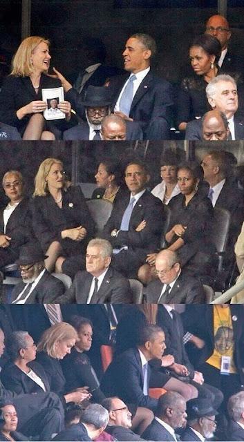 Michelle Obama mécontente de son mari pendant l'hommage à Mandela