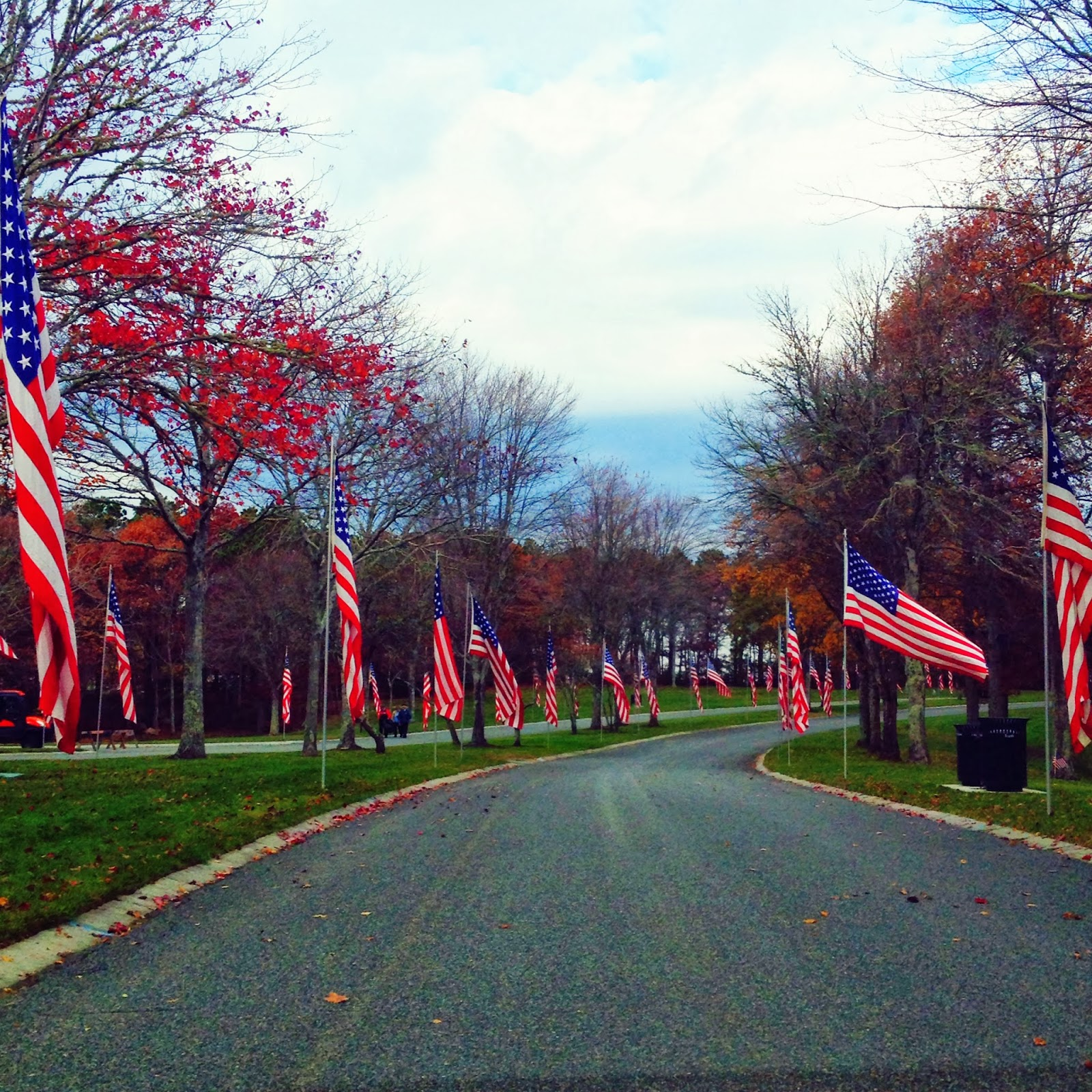 blessings in disguise the avenue of flags on the way in to the cemetery