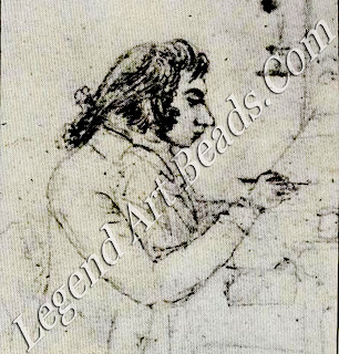 While at the RA school, Turner earned money in the evenings by copying other artists' work at the 'academy' run by Dr Mourn, who sketched this portrait (1' his talented employee in 1796. In the same year, Turner exhibited his first oil painting at the RA.