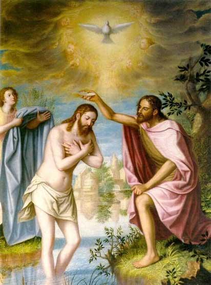 Imagen de la Pintura de Jesús recibiendo al Espíritu Santo por medio del Bautismo