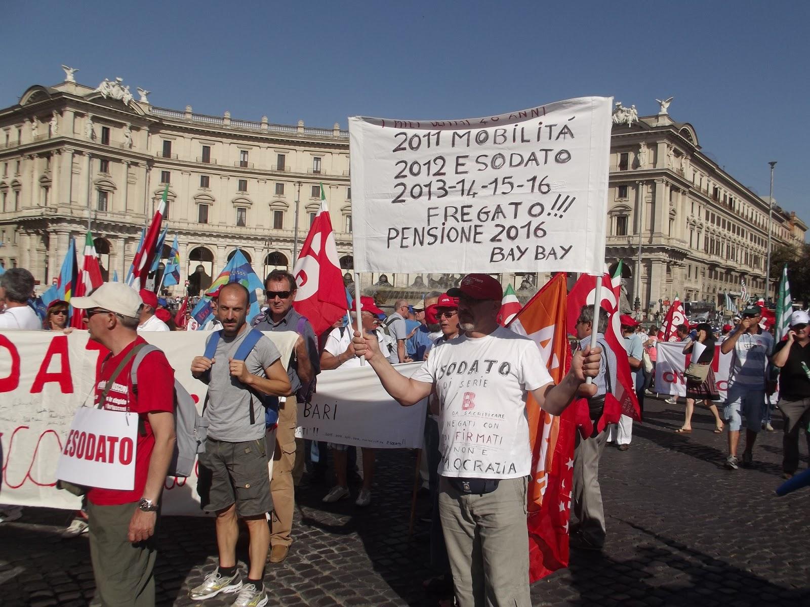 Esodati manifestano con CGIL CISL UIL a Roma il 22 6 2013