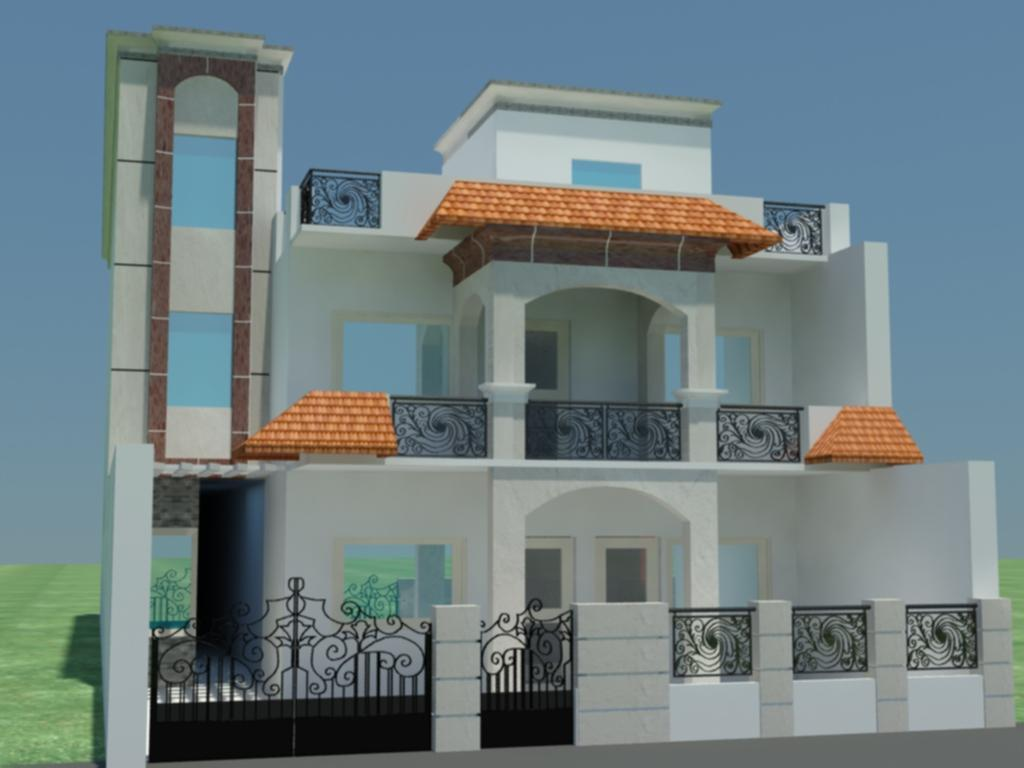 Modern front elevations india ayanahouse Indian house front design photo