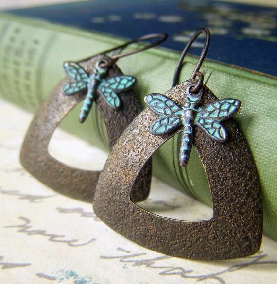 https://www.etsy.com/listing/204672121/dragonfly-patina-earrings-on-dark-brass