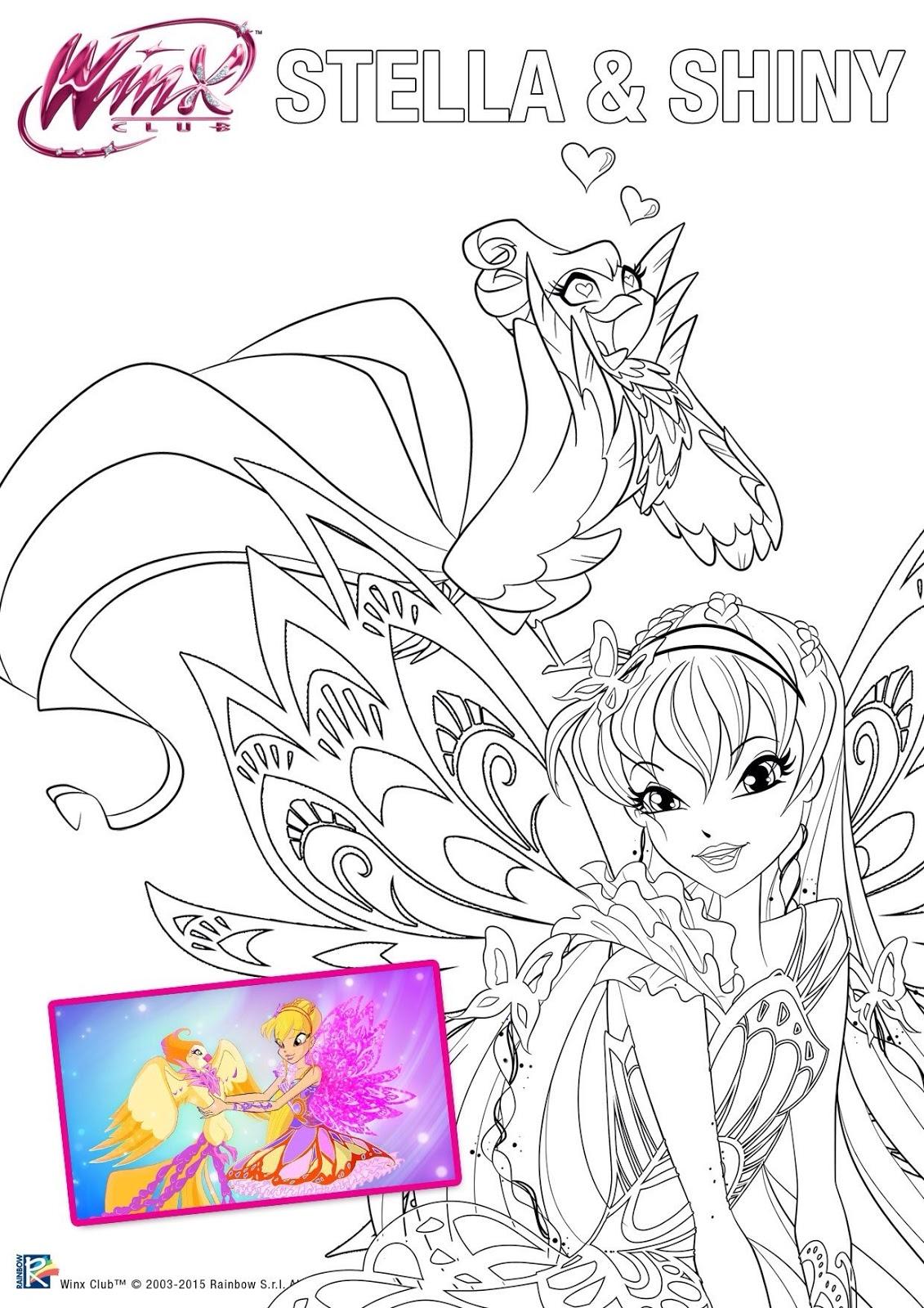 Dibujos para colorear de Winx Club Butterflix y sus mascotas