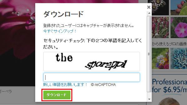 認証画面で文字を入力してダウンロード | 写真のイラストも商用利用できるサイトPixabay