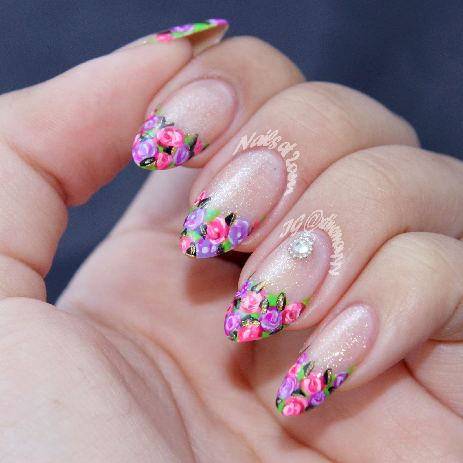 Nails At 2am: Floral French Tip + Tutorial
