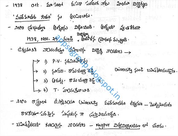 Socio Cultural Awakening , Library Movement, Jana Sangam, Nizam Andhra Maha Sabha, Hyderabad State Congress, Vandemataram Movement in Telangana