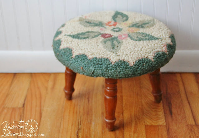 Upcycled and Repurposed Shirt Footstool/DIY/created by KnickofTimeInteriors.blogspot.com