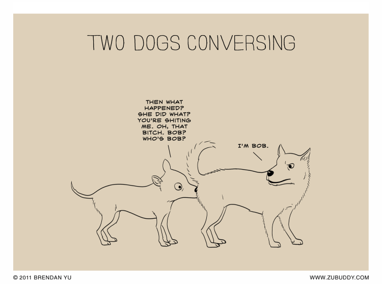 Two Dogs Conversing
