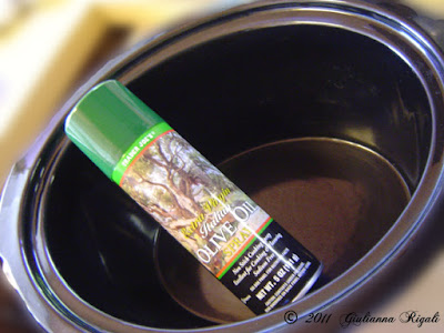 Either spray slow cooker - crock pot with non-stick spray or use liners for easier clean-up.