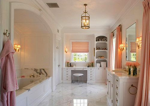 beautiful pink white gold master bathroom