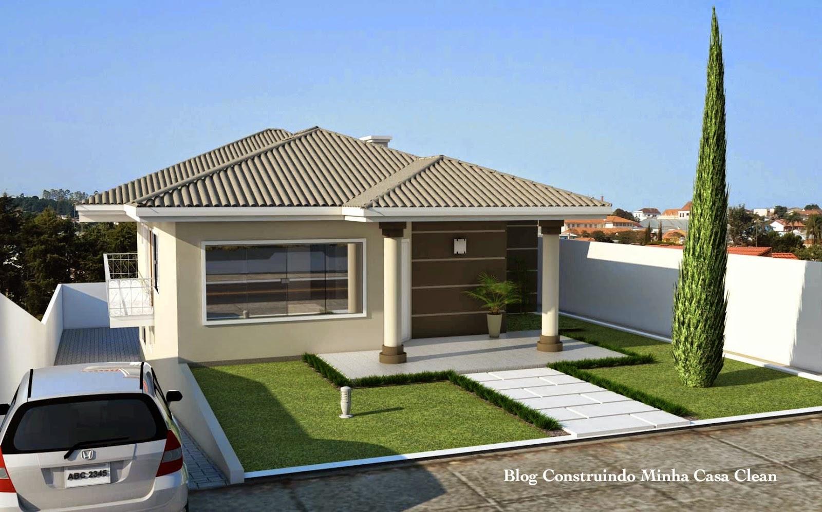 Construindo minha casa clean fachadas de casas em for Decoracion casa 90m2