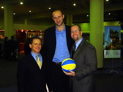 Rabbi Jason Miller With Cleveland Cavaliers owner Dan Gilbert and former player Zydrunas Ilgauskas