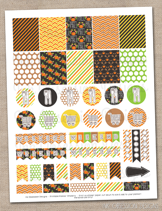 Ink Obsession Designs: New! DIY Printable Planner Stickers - Pumpkins ...