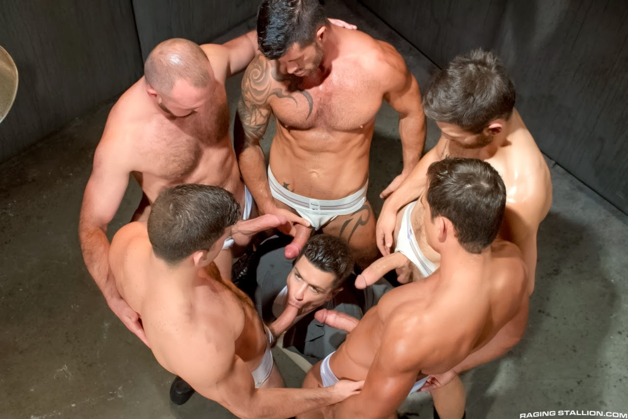 Muscle Jocks In Line Sucking Cock Before Anal