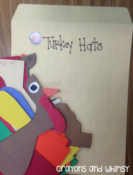 crayons and whimsy filing organization turkey hat