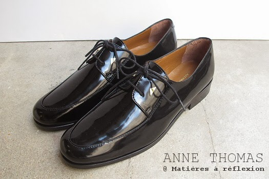 derbies noires en cuir vernis anne thomas