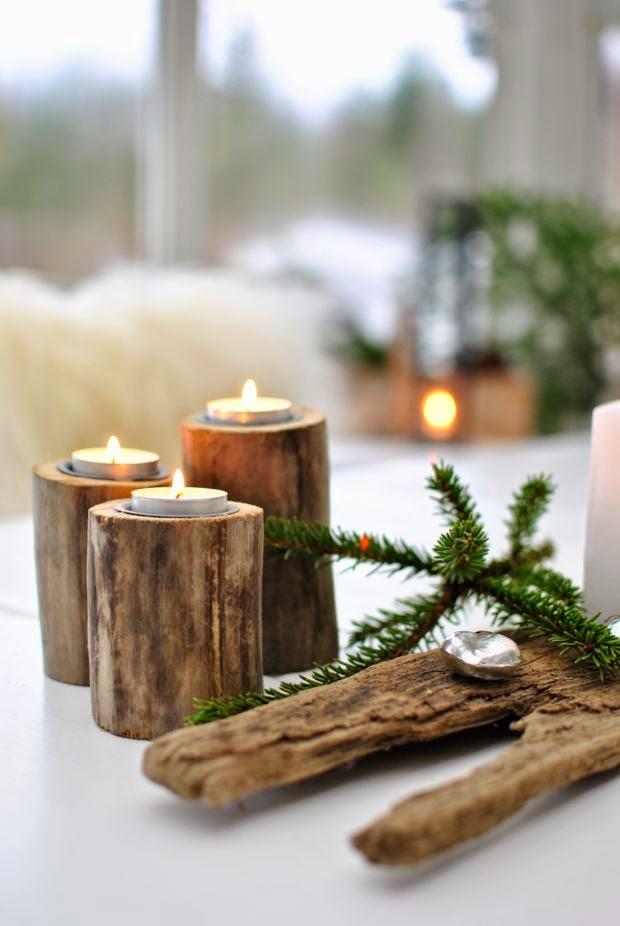 ljusstakar av drivved jul