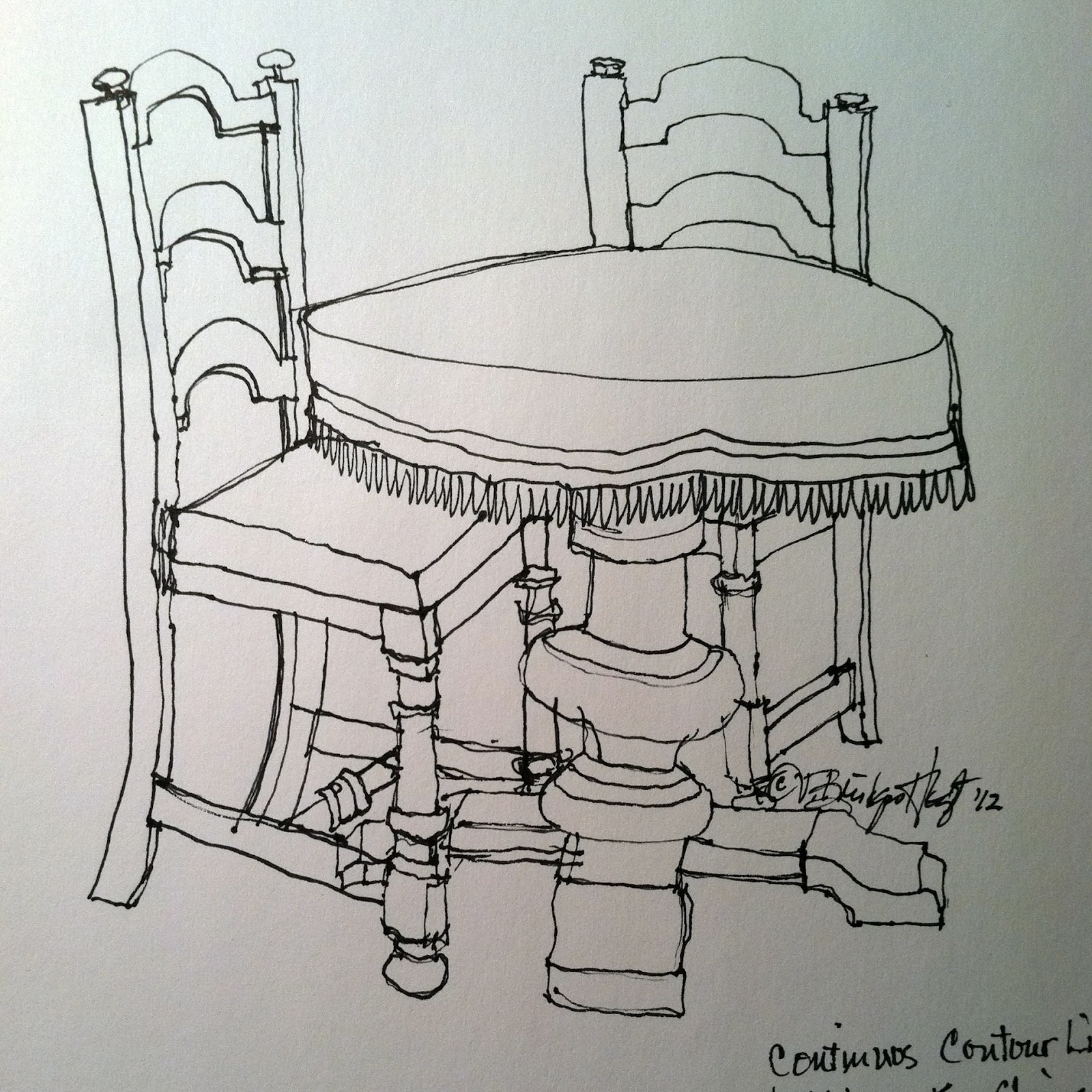 Sketch Of Table And Two Chairs