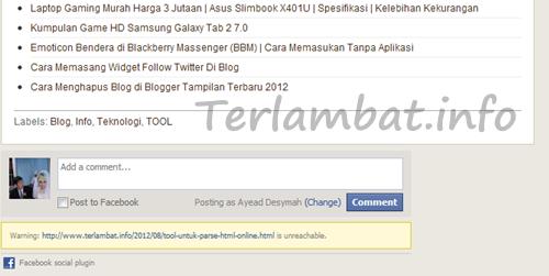 Komentar Facebook di Blog Berbeda Tiap Postingan Terlambat.info