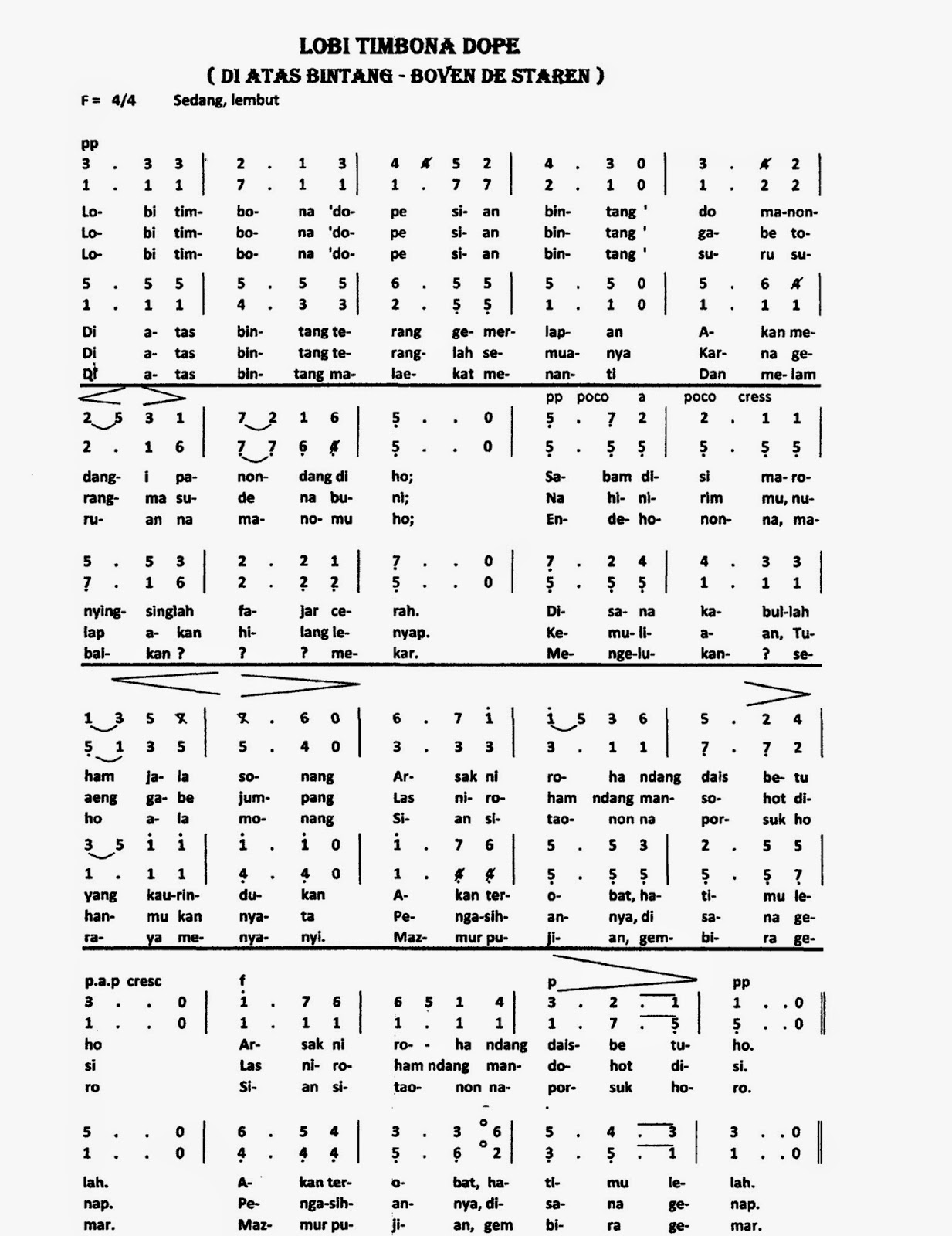 KOOR ~ Lobi Timbona Dope | Partitur Lengkap | Naposo Rohani