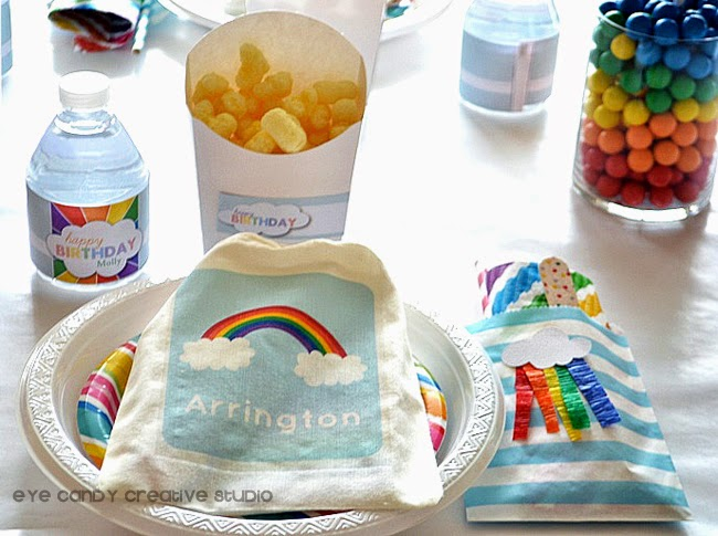 rainbow party decor ideas, rainbow water bottle labels, rainbow candy, rainbow party place setting