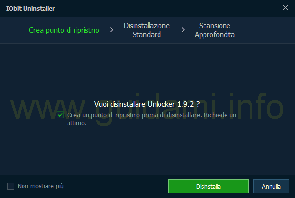 IObit Uninstaller 5 Crea punto di ripristino