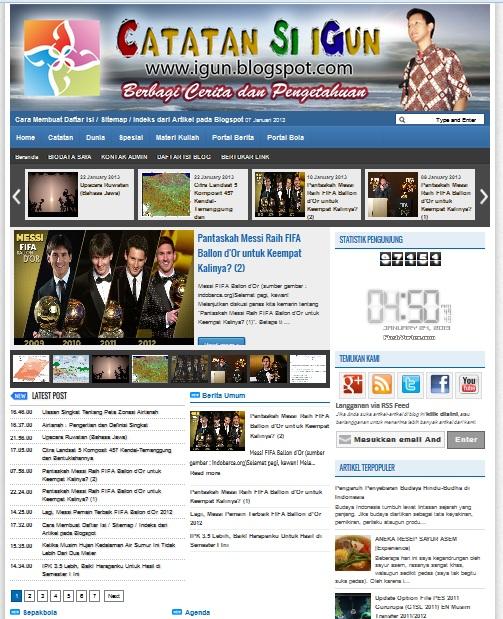 """Screenshot : Kemasan Baru Weblog """"Catatan Si iGun"""" milik Ilham Guntara"""