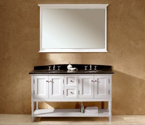 Genoa Double Basin Traditional White Vanity With Black Granite Top White Bathroom Vanities