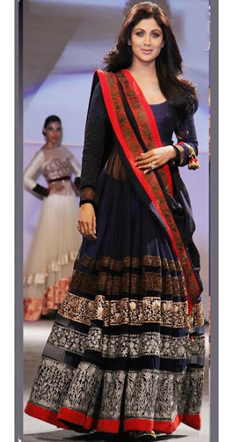 1818-Shilpa Shetty Blue Bollywood Replica Anarkali Suit.