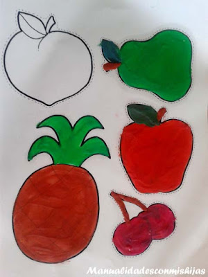 Manualidad infantil: frutas de plastilina (pera, manzana, piña, cereza)