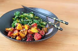Sesame Roasted Beets and Greens