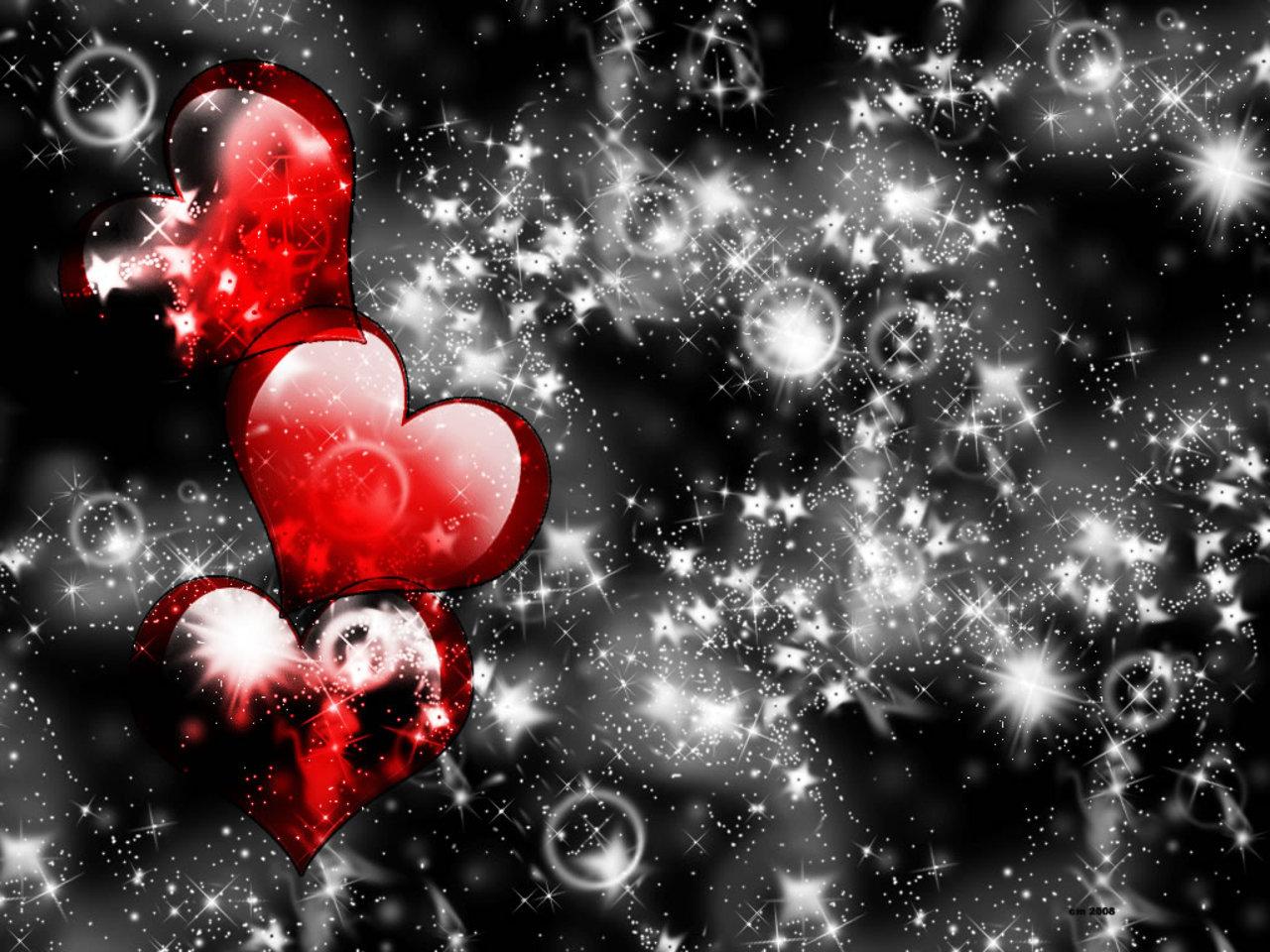 Fondo de pantalla de corazones y burbujas brillantes