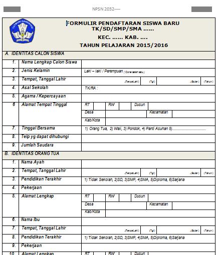 Formulir Pendaftaran Siswa Baru 2015 - SD/MI, SMP/MTs, SMA/MA, SMK, PAUD/TK,