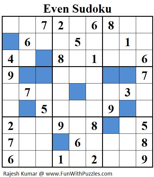 Even Sudoku (Daily Sudoku League #25)