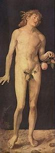 Adán de Alberto Durero, óleo sobre tabla 209x81 cm.
