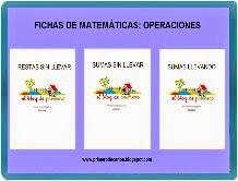 FICHAS DE OPERACIONES: RESTAS SIN LLEVAR, SUMAS SIN LLEVAR Y SUMAS LLEVANDO