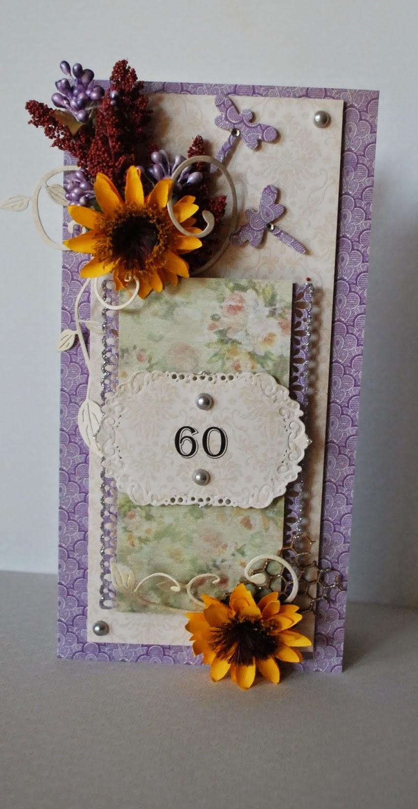 kartka urodziny 60 słoneczniki